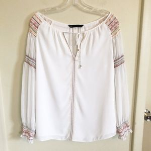 WHBM | Multicolored Embroidered White Blouse